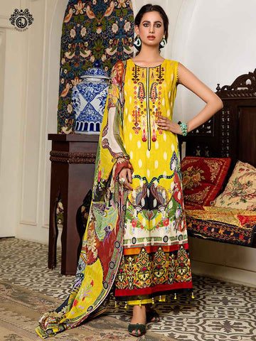 Luxury Digital Printed Banarsi Brosha Embroidered Lawn With Digital Crinkle Chiffon Dupata GZG2102A7