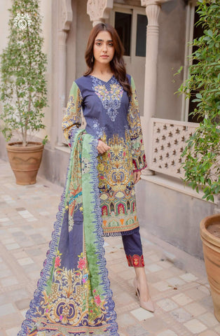 POPPING BLUES Digital Printed Cambric Cotton Embroidered MHJ024A3