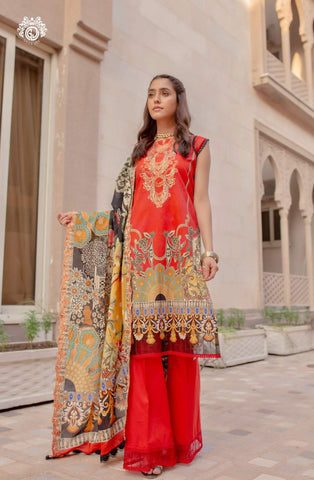 CORAL RUSH Digital Printed Cambric Cotton Embroidered MHJ024A11