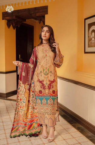 GLAM ALLURE Digital Printed Cambric Cotton Embroidered MHJ024A5