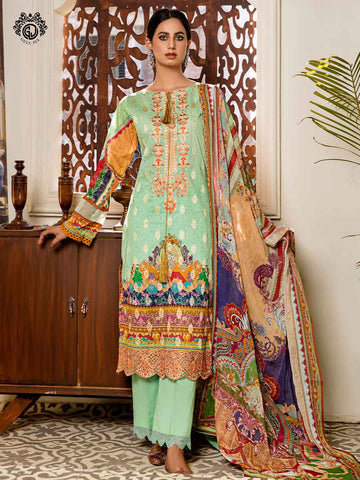Luxury Digital Printed Banarsi Brosha Embroidered Lawn With Digital Crinkle Chiffon Dupata GZG2102A9