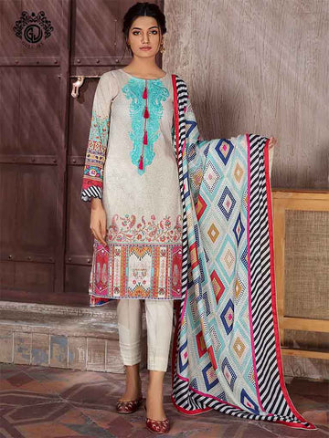 Digital Printed Lawn Embroidered Neck And Digital Printed Self Jacquard Lawn Dupatta GB2104A3