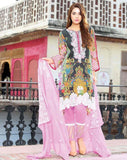 Black & Pink Embroidered Lawn - GullJee