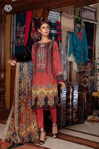 Copy of CORAL RUSH Digital Printed Cambric Cotton Embroidered MHJ024A11 - GullJee