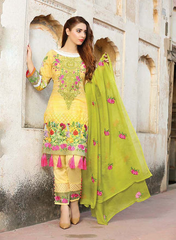 Green Embroidered Lawn - GullJee