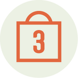 Illustrated cart icon with number 3