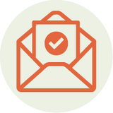 Illustrated mail icon with check mark