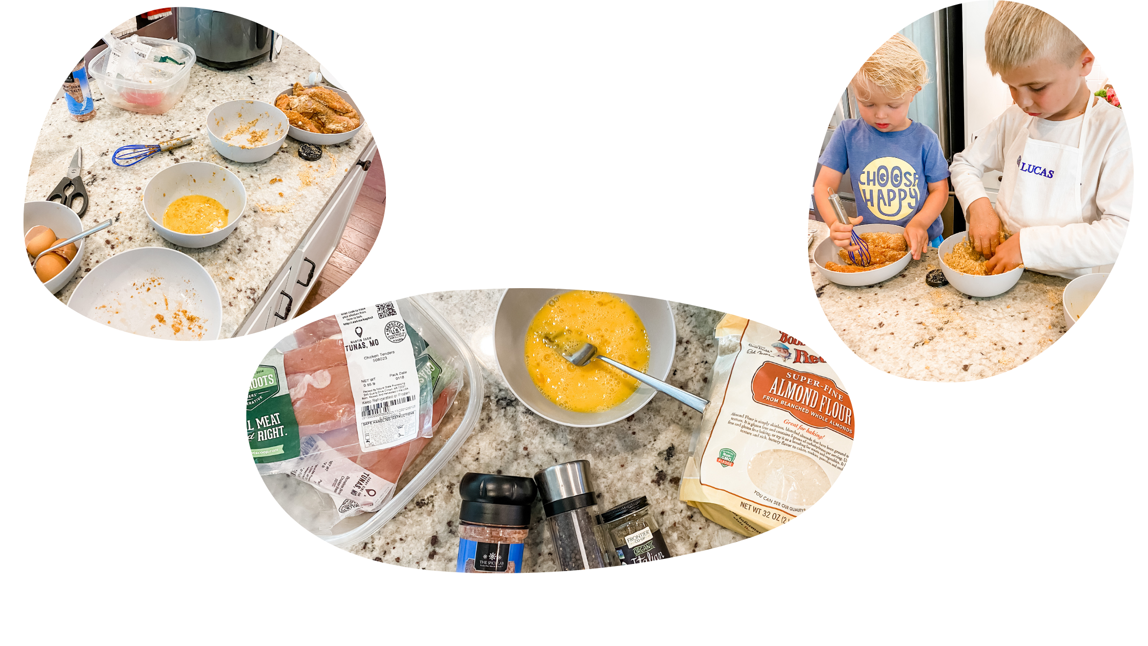 Three images. first image shows a messy kitchen, second image shows ingredients to make chicken tenders, third image shows children breading chicken tenders.