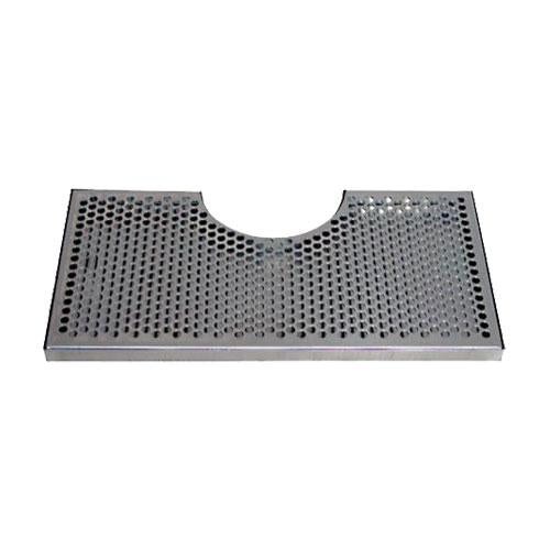 "15"" L x 7 1/2"" W - SS DRIP TRAY w/ 4 1/2"" CUT-OUT - NO DRAIN"