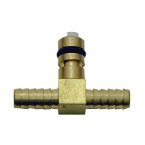 "BRASS 1/4"" ""T"" HOSE BARB INLET WITH SHUT-OFF T-5000"