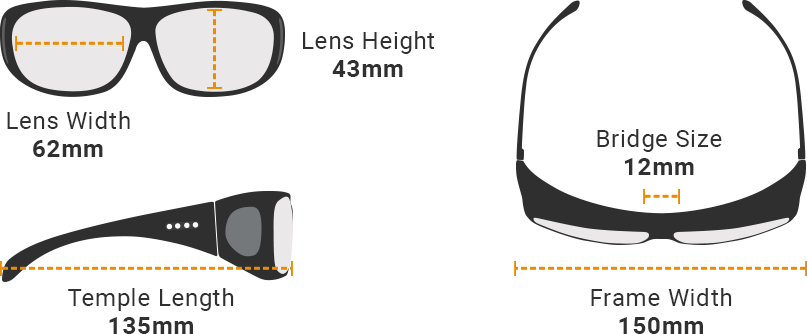 Low vision glasses Receptor fitting size