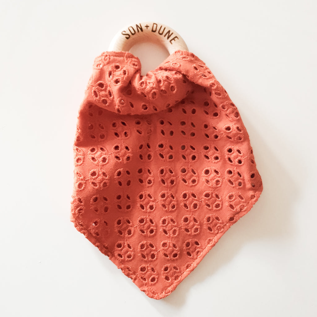 Burnt Orange Embroidered Cotton Teething Ring Comforter