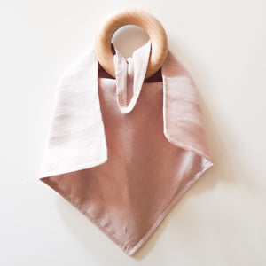 Dusted Rose Linen Teething Ring Comforter