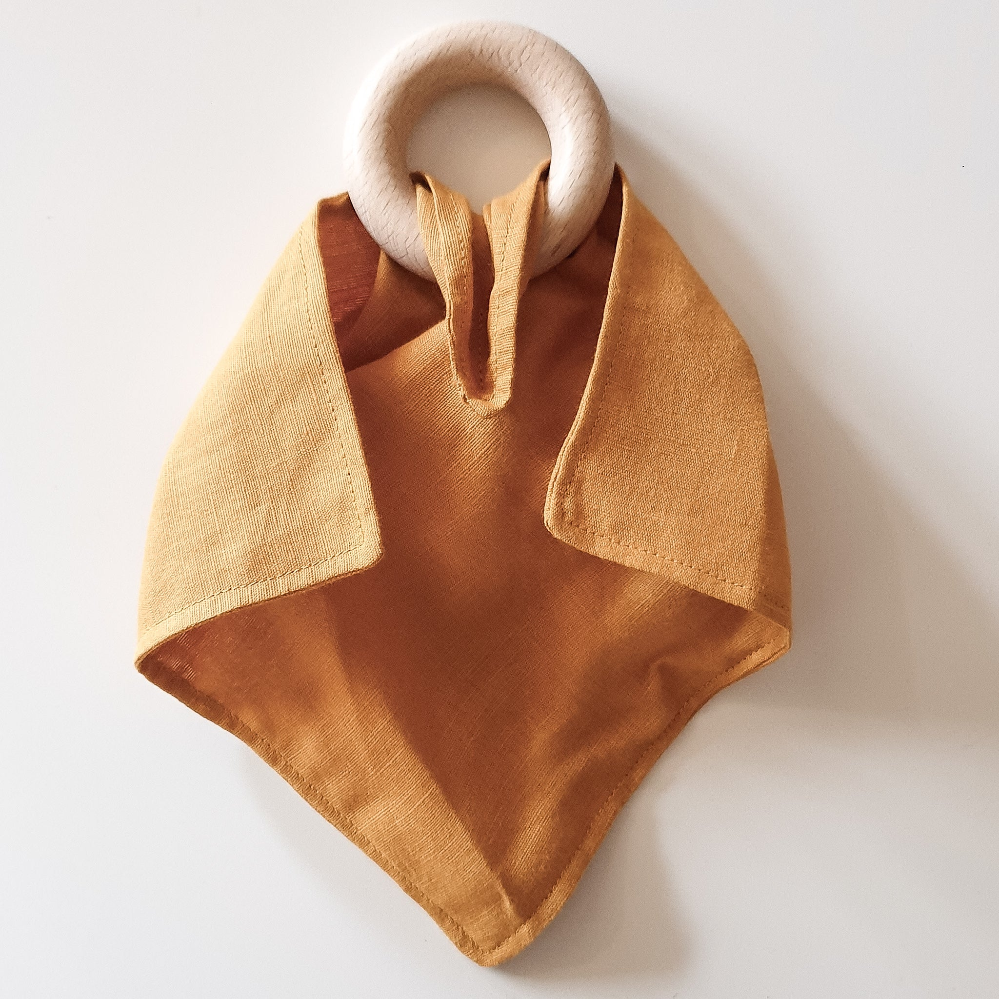 Sunshine Mustard Linen Teething Ring Comforter