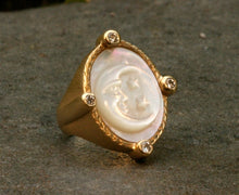 Mother of Pearl Ring with Four Diamonds
