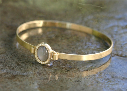 Spring Gold Bangle with Pave Framed Oval Moonstone