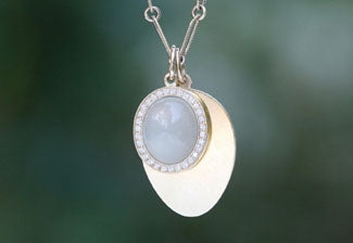 Pave Framed Moonstone Charm with Engravable Guitar Pick Charm