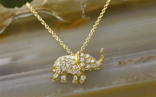 Pave Elephant Good Luck Amulet on Delicate Chain