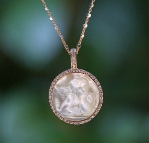 Mother of Pearl Cameo Pave Diamond Frame and Bale