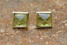 Bezel set Pyramid Cabochon Earrings