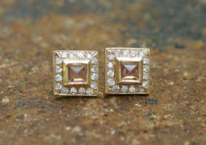 Pyramid Cabochon Earrings with Pave Diamonds