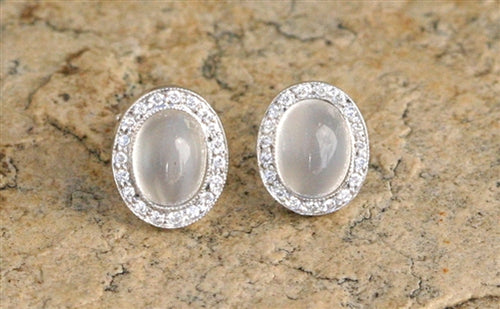 Moonstone Stud with Pave Frame