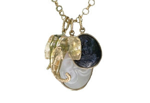 Solid Gold Elephant with Diamonds, Carved Sapphire, And Mother of Pearl Charm