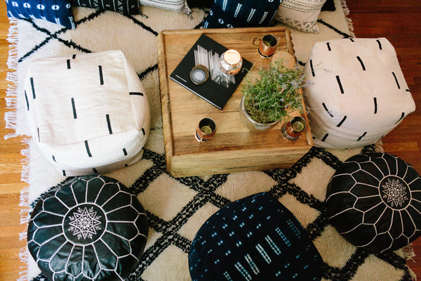 Square Mudcloth Pouf : White Dash or Indigo