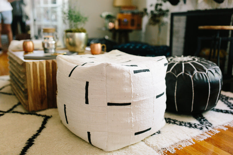 Square Mudcloth Pouf : Indigo Or White Dash