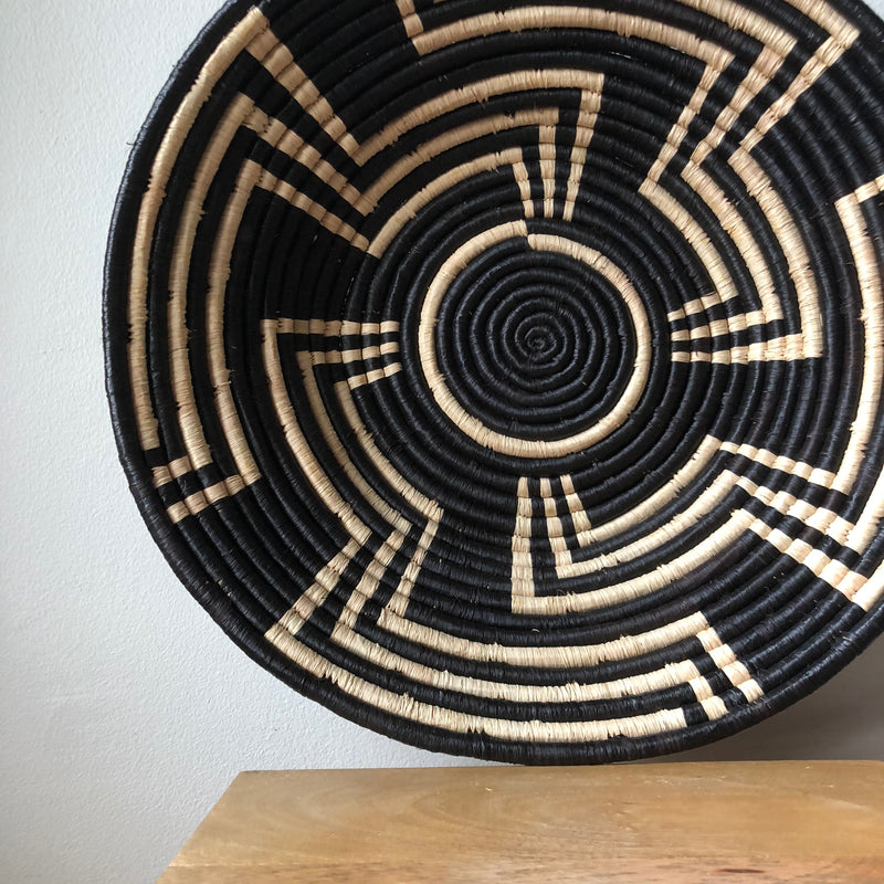 Black & Natural Ugandan Basket - 2 Sizes Available