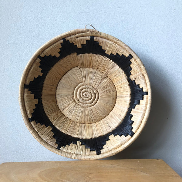 Natural & Black Ugandan Basket - 2 Sizes Available