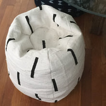 Shibori Indigo or Black and White Mudcloth Poufs / Bean Bag Chair / Ottoman