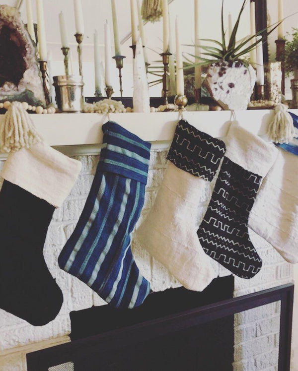 MUDCLOTH STOCKINGS- Indigo - White & Black - Handmade Stockings - Assorted Sets