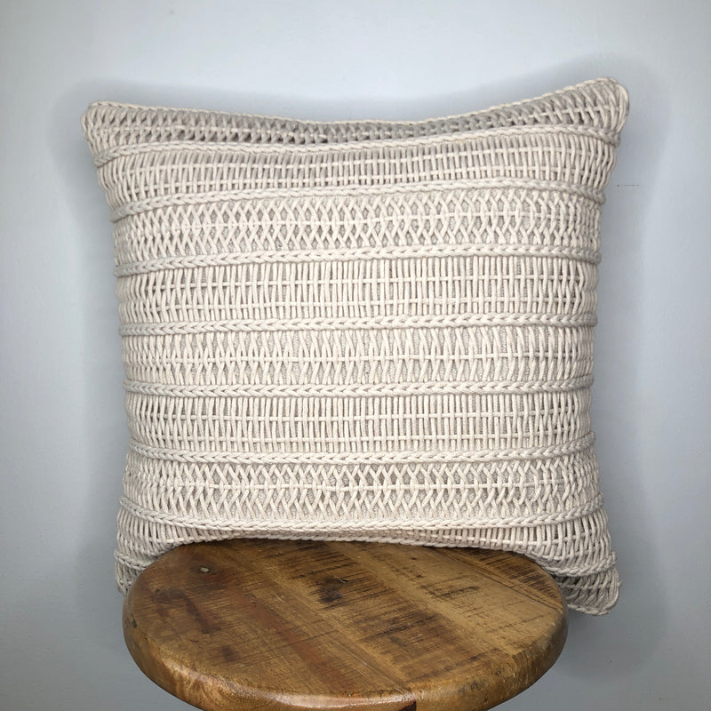 20 x 20 Cream Macrame Braided Pillow Cover