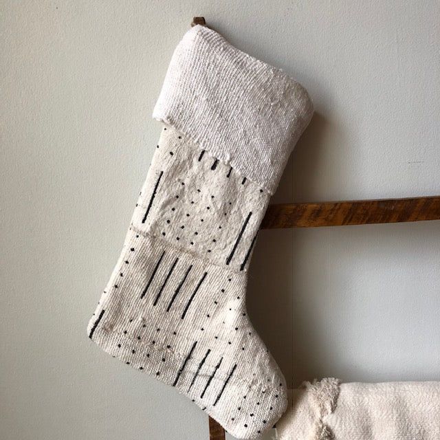 MUDCLOTH STOCKINGS- White - Handmade Stockings -