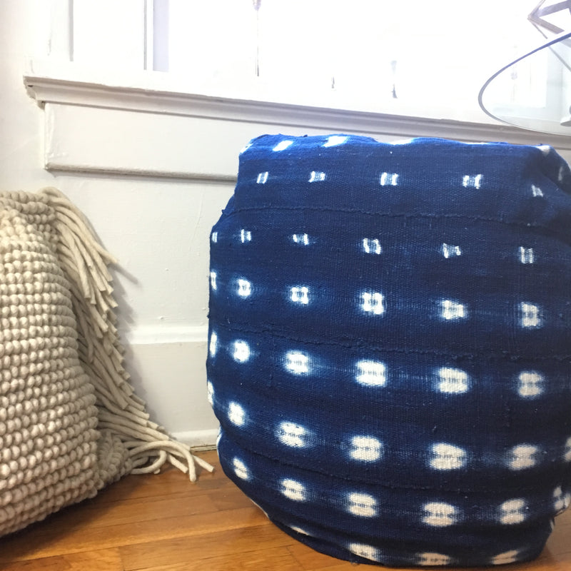 Bean Bag Pouf: Indigo OR White Dash