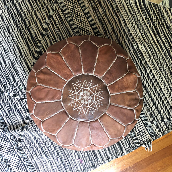 ROUND TAN LEATHER EMBROIDERED POUF