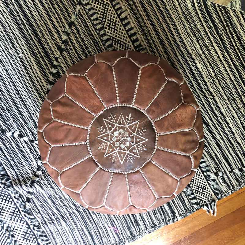 Round Pouf: Tan Leather
