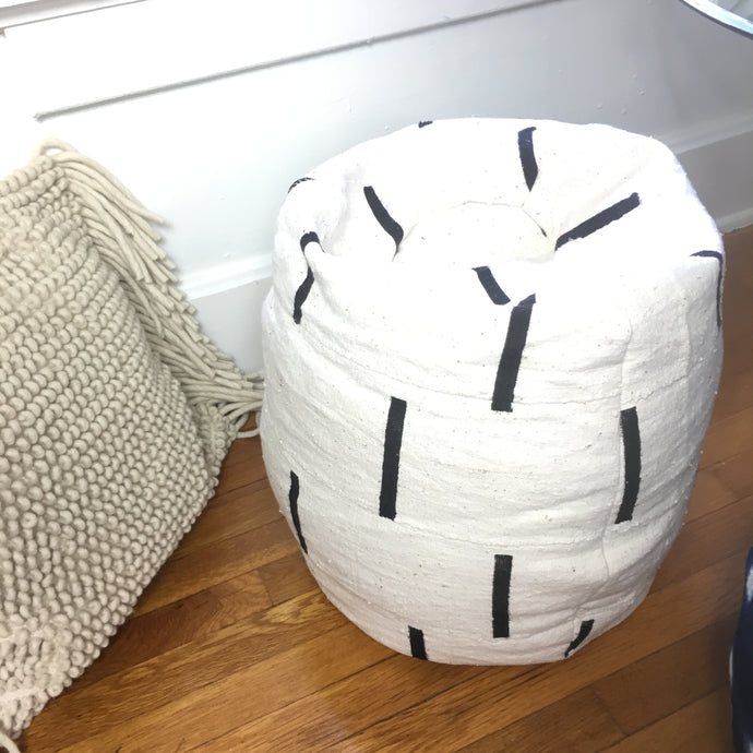 Shibori Indigo or Black and White Dashed Line Mudcloth Poofs / Bean Bag Chair / Ottoman