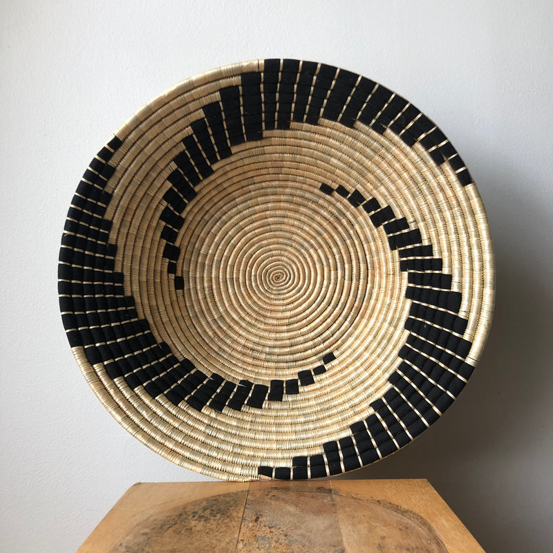"18"" Black & Natural African Basket"
