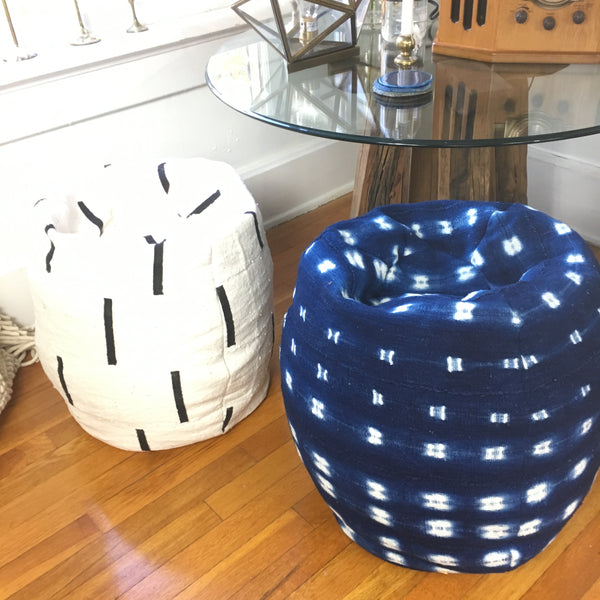 Bean Bag Pouf: Indigo, OR White Dash