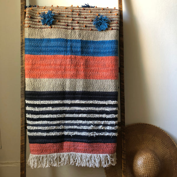 Handmade Blue & Rust Blanket with Fringe Tassels