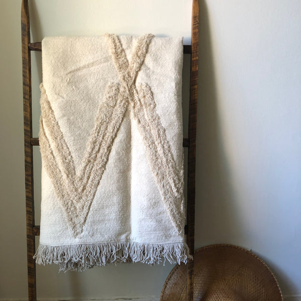 Cream Beni Ourain Throw Blanket with Fringe Tassels