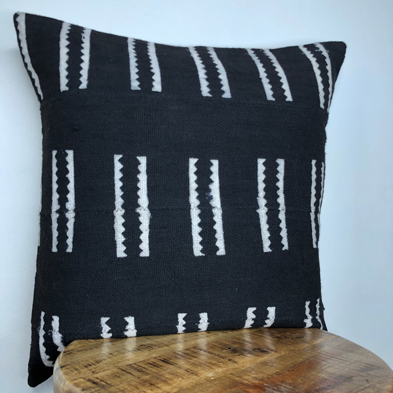 BLACK and WHITE TRIBAL MUDCLOTH Pillow Cover
