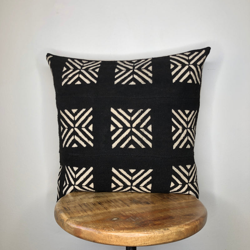 BLACK and WHITE MUDCLOTH Pillow Cover