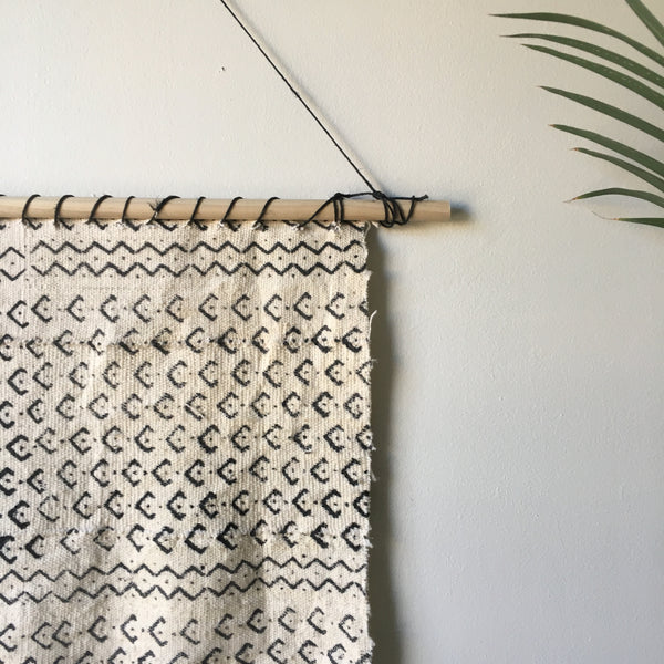 Custom White and Black Mudcloth Wall Hanging - Tassel Trimmed Bottom - Handmade Tassels