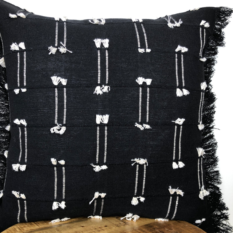 Black and White Knotted Fringe Pillow with Insert