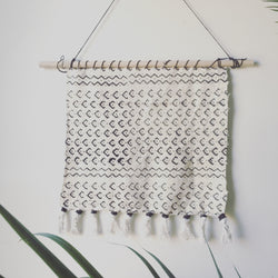Custom White and Black Mudcloth Wall Hanging - Loosely Woven with a Tassel Bottom - Black Cording on Top to Hang