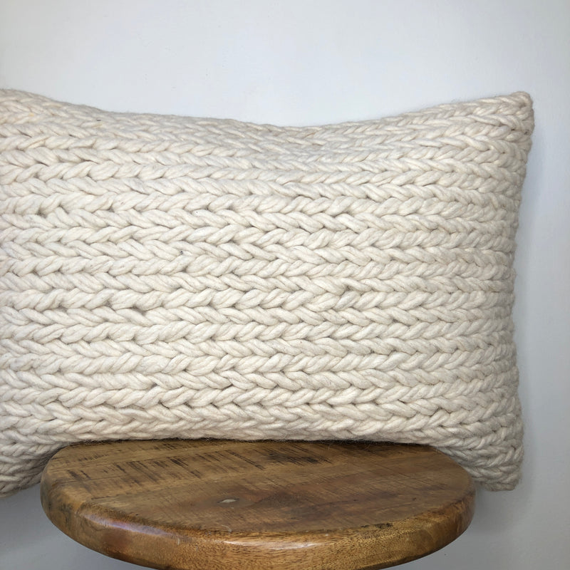 Cream or White Wool Braided Pillow cover 20 Inch or 16 x 26 Lumbar Pillow