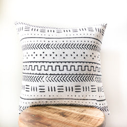 White with Black Tribal Print Mudcloth Style Pillow